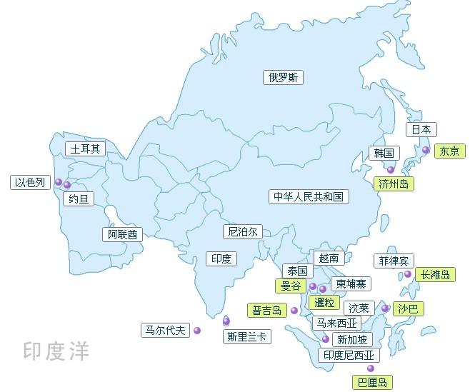 成都到亚洲旅游地图
