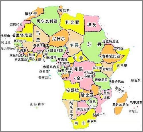 非洲旅游地图