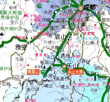 成都乐山峨眉山交通旅游地图2010年