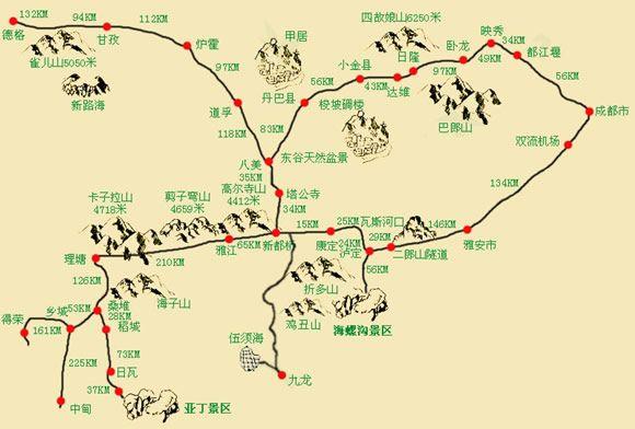 成都到稻城亚丁旅游交通地图