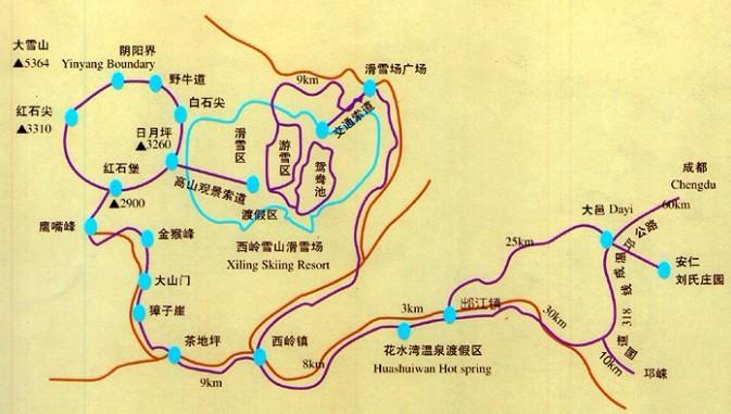 西岭雪山景区导游地图