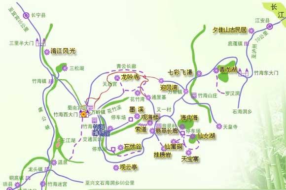 蜀南竹海景区导游地图