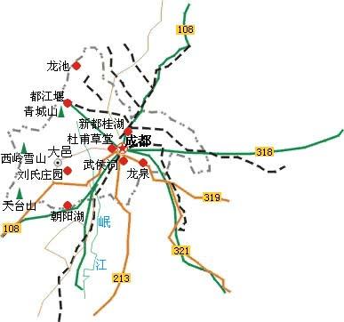 成都周边旅游地图
