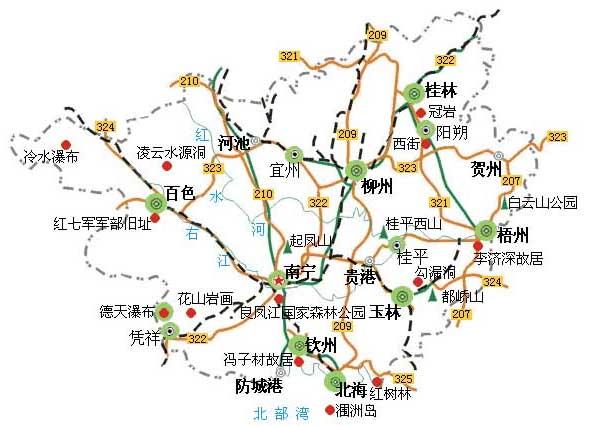 广西省交通旅游地图2010年