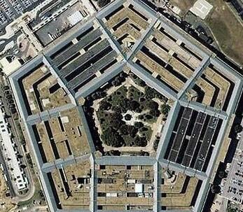 五角大楼旅游景点俯视鸟瞰图